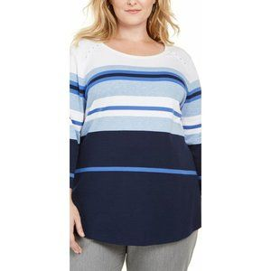 Plus Size Blue/White Scoop-Neck Relaxed Shirt Top
